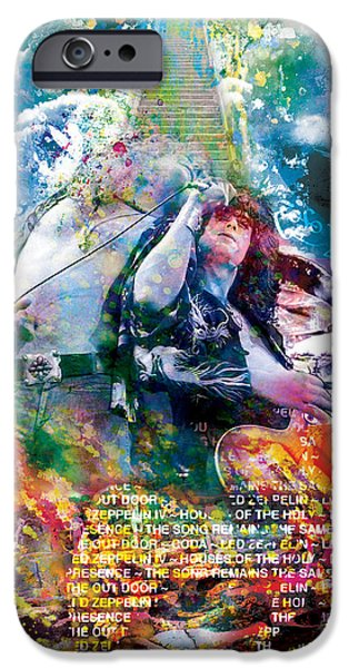 Jimmy Page Paintings iPhone Cases - Led Zeppelin Original Painting Print  iPhone Case by Ryan RockChromatic