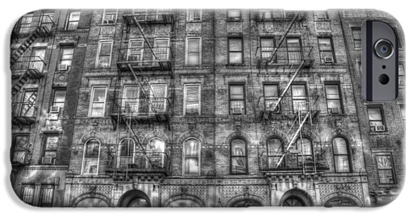 Manhattan iPhone Cases - Led Zeppelin Physical Graffiti Building in Black and White iPhone Case by Randy Aveille