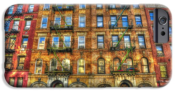 Manhattan iPhone Cases - Led Zeppelin Physical Graffiti Building in Color iPhone Case by Randy Aveille