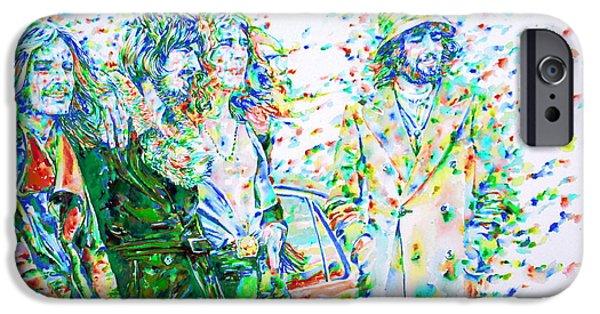 Robert Plant Paintings iPhone Cases - LED ZEPPELIN - watercolor portrait.2 iPhone Case by Fabrizio Cassetta
