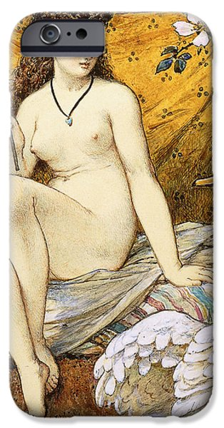 Portraiture Drawings iPhone Cases - Leda and the Swan iPhone Case by William Stephen Coleman