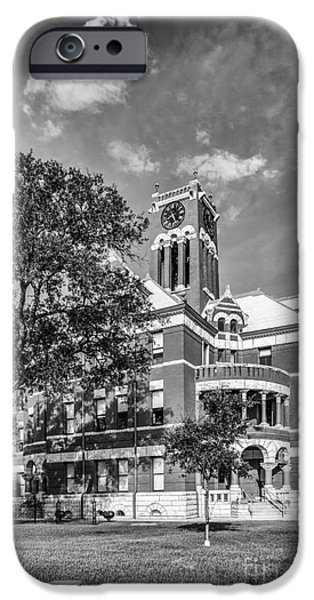 Photographs With Red. iPhone Cases - Lee County Courthouse in Giddings Texas iPhone Case by Silvio Ligutti