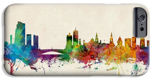Great Britain iPhone Cases - Leeds England Skyline iPhone Case by Michael Tompsett