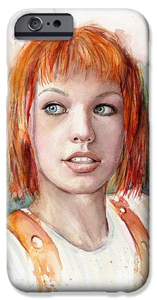 Dallas Paintings iPhone Cases - Leeloo Portrait MULTIPASS The Fifth Element iPhone Case by Olga Shvartsur