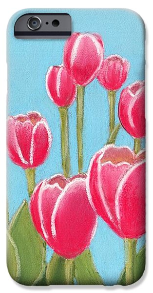 Plant Pastels iPhone Cases - Leen van der Mark Tulips iPhone Case by Anastasiya Malakhova
