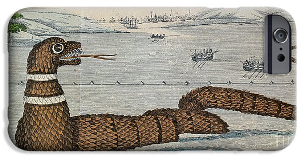 Serpent iPhone Cases - Legendary Gloucester Sea Serpent, 1817 iPhone Case by Photo Researchers