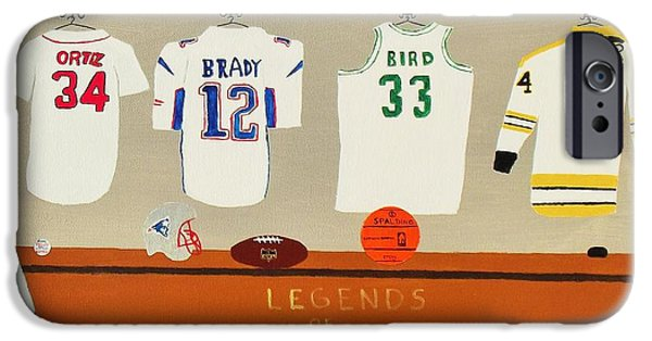 Larry Bird Paintings iPhone Cases - Legends of New England iPhone Case by Dennis ONeil