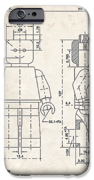Block Print Drawings iPhone Cases - Lego Minifigure Patent Art iPhone Case by Stephen Chambers