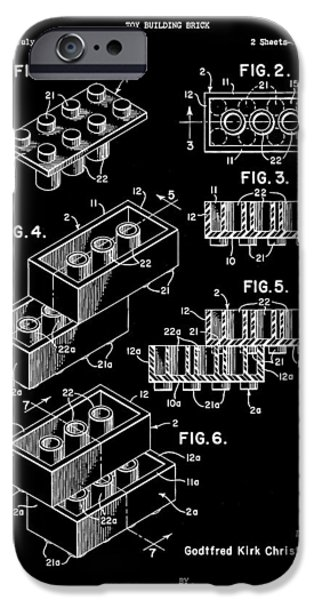 Interlocking iPhone Cases - Lego Patent 1958 - Black iPhone Case by Stephen Younts