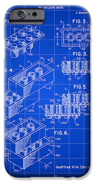 Interlocked iPhone Cases - Lego Patent 1958 - Blue iPhone Case by Stephen Younts