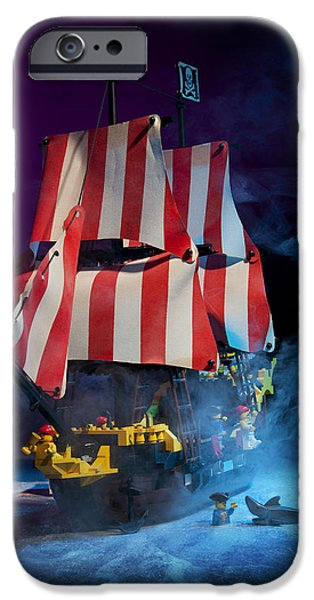 Pirate Ships iPhone Cases - Lego Pirate Ship iPhone Case by Samuel Whitton