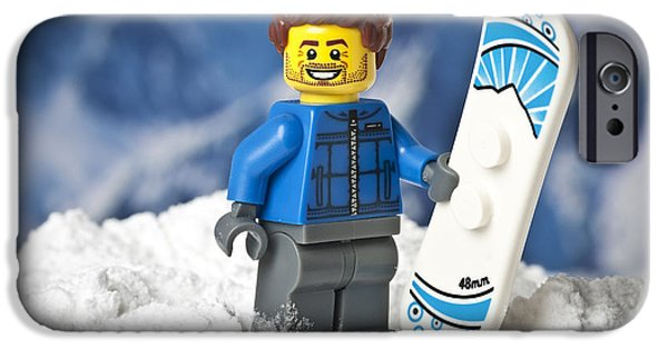 Adrenaline iPhone Cases - Lego Snowboarder iPhone Case by Samuel Whitton