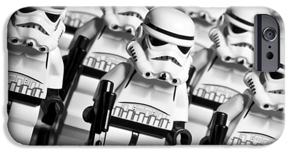 Character Portraits Photographs iPhone Cases - Lego Storm Trooper Army iPhone Case by Samuel Whitton