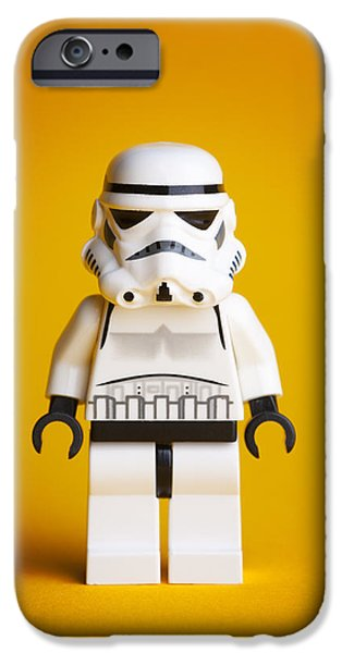 Character Portraits Photographs iPhone Cases - Lego Storm Trooper iPhone Case by Samuel Whitton