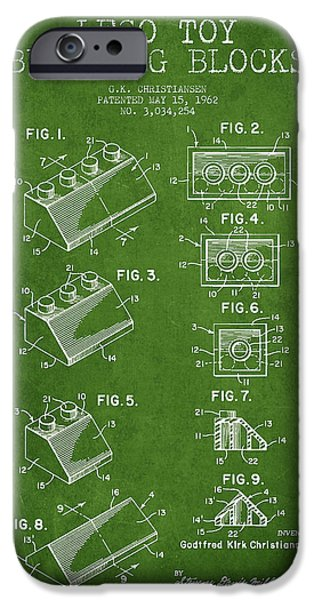 Lego Digital Art iPhone Cases - Lego Toy Building Blocks Patent - Green iPhone Case by Aged Pixel