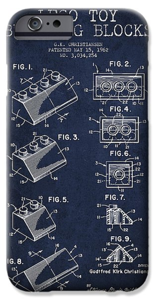 Lego Digital iPhone Cases - Lego Toy Building Blocks Patent - Navy Blue iPhone Case by Aged Pixel