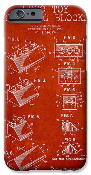 Lego Digital Art iPhone Cases - Lego Toy Building Blocks Patent - Red iPhone Case by Aged Pixel