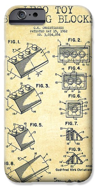 Lego Toy Building Blocks Patent - Vintage iPhone Case by Aged Pixel