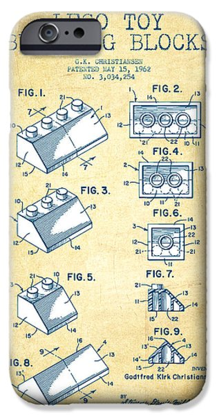 Lego Digital iPhone Cases - Lego Toy Building Blocks Patent - Vintage Paper iPhone Case by Aged Pixel