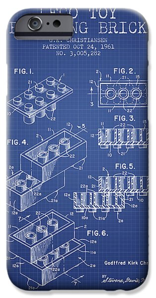 Blueprint iPhone Cases - Lego Toy Building Brick Patent from 1961 - Blueprint iPhone Case by Aged Pixel