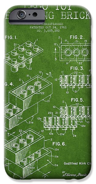 Lego Toy Building Brick Patent - Green iPhone Case by Aged Pixel