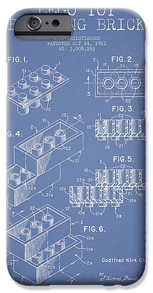 Lego iPhone Cases - Lego Toy Building Brick Patent - Light Blue iPhone Case by Aged Pixel