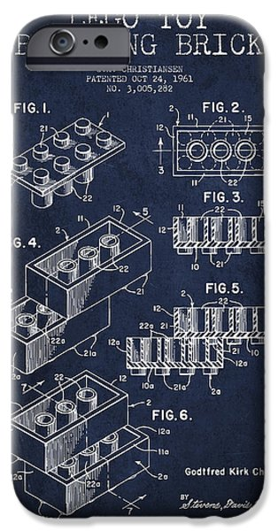Lego Digital iPhone Cases - Lego Toy Building Brick Patent - Navy Blue iPhone Case by Aged Pixel