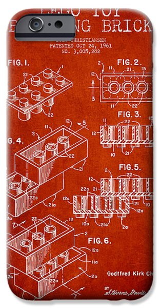 Recently Sold -  - Technical iPhone Cases - Lego Toy Building Brick Patent - Red iPhone Case by Aged Pixel