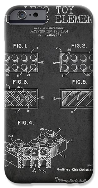 Lego Toy Building Element Patent - Dark iPhone Case by Aged Pixel