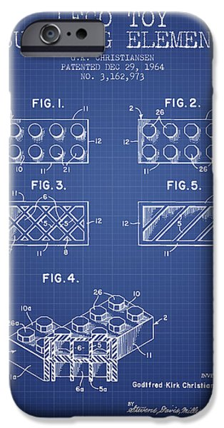 Lego Digital Art iPhone Cases - Lego Toy Building Element Patent from 1964 - Blueprint iPhone Case by Aged Pixel