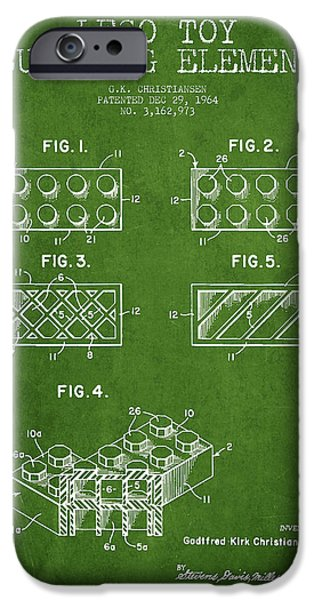Lego Digital Art iPhone Cases - Lego Toy Building Element Patent - Green iPhone Case by Aged Pixel