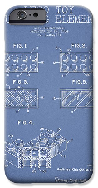 Lego Digital iPhone Cases - Lego Toy Building Element Patent - Light Blue iPhone Case by Aged Pixel