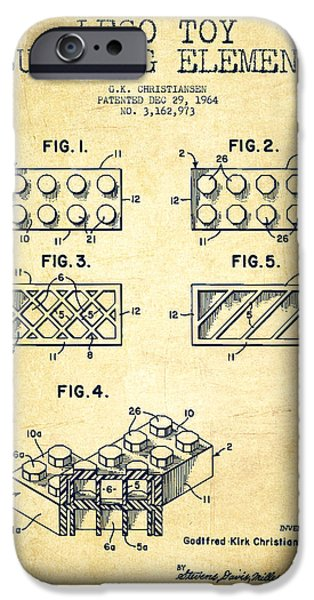 Lego Toy Building Element Patent - Vintage iPhone Case by Aged Pixel