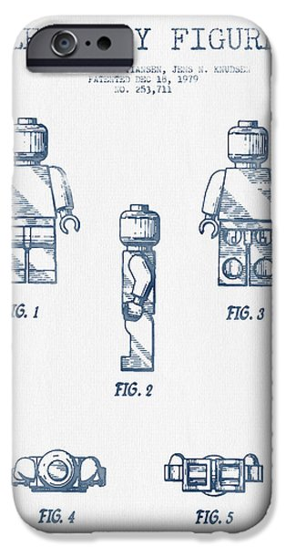 Recently Sold -  - Figures iPhone Cases - Lego Toy Figure Patent - Blue Ink iPhone Case by Aged Pixel