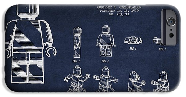 Technical iPhone Cases - Lego toy Figure Patent Drawing iPhone Case by Aged Pixel