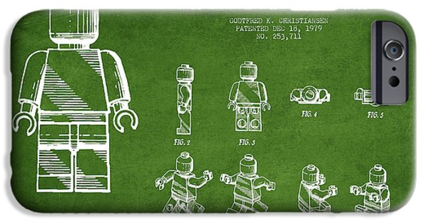 Lego Digital iPhone Cases - Lego toy Figure Patent Drawing from 1979 - Green iPhone Case by Aged Pixel