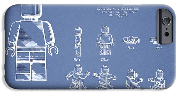 Lego Digital iPhone Cases - Lego toy Figure Patent Drawing from 1979 - Light Blue iPhone Case by Aged Pixel
