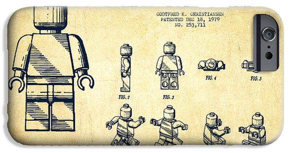 Figures iPhone Cases - Lego toy Figure Patent Drawing from 1979 - Vintage iPhone Case by Aged Pixel