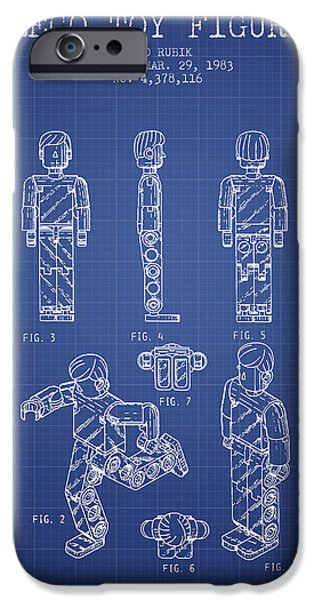 Lego Digital iPhone Cases - Lego Toy Figure Patent from 1983- Blueprint iPhone Case by Aged Pixel