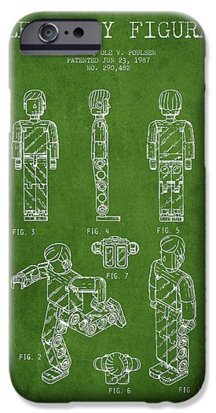 Lego Digital Art iPhone Cases - Lego Toy Figure Patent - Green iPhone Case by Aged Pixel