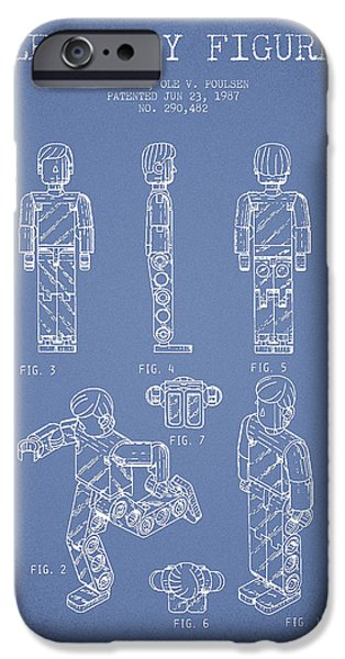 Lego Toy Figure Patent - Light Blue iPhone Case by Aged Pixel