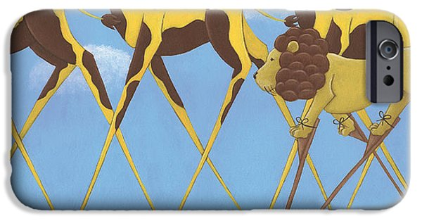 Wall Drawings iPhone Cases - Whimsical Giraffe Painting  iPhone Case by Christy Beckwith