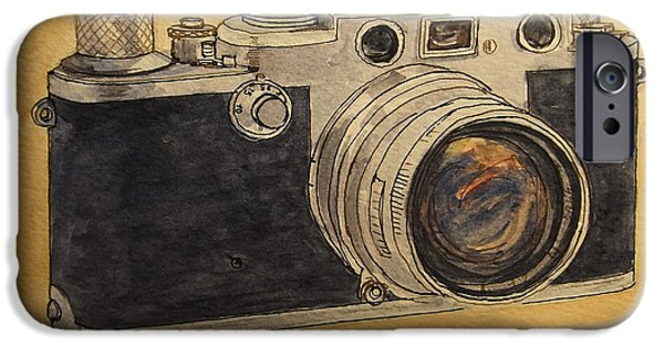 Photo Paintings iPhone Cases - Leica IIIf iPhone Case by Juan  Bosco