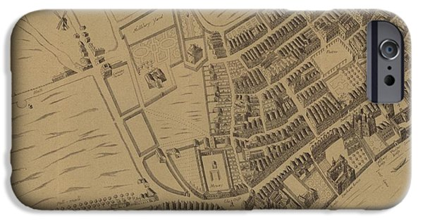 Geographic iPhone Cases - Leicester Square and its Surroundings in 1658 iPhone Case by English School