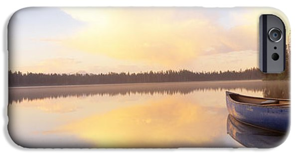 Canoe iPhone Cases - Leigh Lake, Grand Teton Park, Wyoming iPhone Case by Panoramic Images