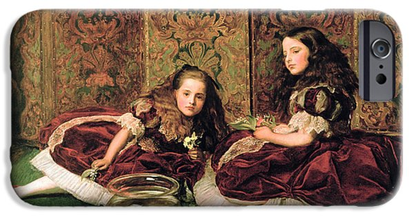 Goldfish iPhone Cases - Leisure Hours, 1864 Oil On Canvas iPhone Case by Sir John Everett Millais