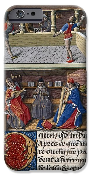 Chess Players iPhone Cases - Leisure Pursuits, 15th-century Manuscript iPhone Case by British Library