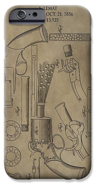 Owner Digital iPhone Cases - LeMat Revolver Patent iPhone Case by Dan Sproul