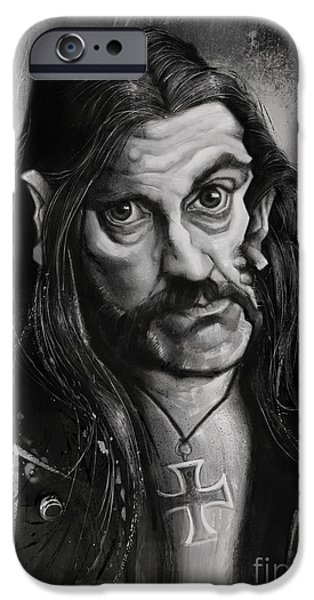 Caricature Digital Art iPhone Cases - Lemmy iPhone Case by Andre Koekemoer