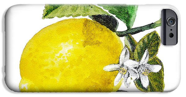Sour iPhone Cases - Lemon Flowers And Lemon iPhone Case by Irina Sztukowski